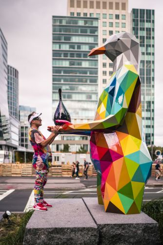 Okuda Brings Sculptures in the Streets of Boston